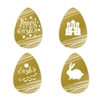 Set of Easter golden eggs with rabbit inscription vector image
