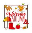 welcome autumn card frame poster bird umbrella vector image