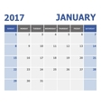 2017 January calendar week starts Sunday vector image vector image