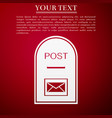 mail box icon post box flat on red background vector image