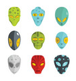 alien flat face set isolated on white background vector image