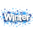Winter paper sign over snowflakes vector image