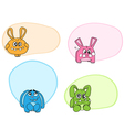 cartoon rabbits labels vector image vector image