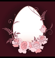 oval frame with pink roses vector image vector image