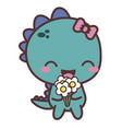 a dinosaur happy girl with flower good day vector image