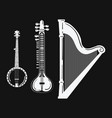a set of musical instruments stylized harp black vector image
