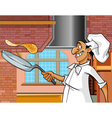 cartoon cheerful cook with a frying pan vector image