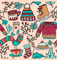 cute christmas winter doodle seamless pattern vector image