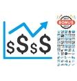 Financial Graph Icon With 2017 Year Bonus Symbols vector image