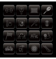 Line sports gear and tools icons vector image