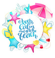 hand lettering summer phrase on round paper vector image