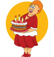 Fat cartoon woman with cake vector image vector image