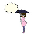 cartoon woman with umbrella with thought bubble vector image