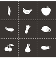 black fruit and vegetables icons set vector image