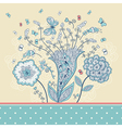 Cute greeting card with hand-drawn flowers vector image