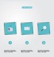 flat icons envelope magnifier id card and other vector image