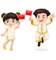 happy boy and girl holding flag of china vector image