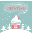 Merry Christmas card with Home vector image