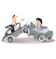 road accident young man and woman vector image