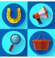 Set icons SEO marketing Flat design style vector image