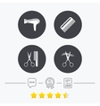 Hairdresser icons Scissors cut hair symbol vector image