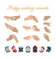 happy wedding moments rings on fingers collection vector image