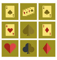 assembly flat icons poker playing card vector image