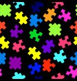 seamless pattern with colorful pieces of puzzle on vector image