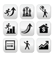Success in business self development buttons set vector image