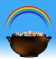 rainbow and pot of gems vector image