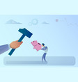 business man hand hitting piggy bank with hammer vector image