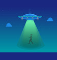 cartoon aliens spaceship or ufo takes girl vector image