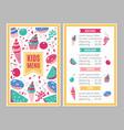 cute colorful children s menu vector image