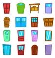 Door icons set vector image