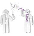 Paper men play tic tac vector image