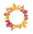 Watercolor autumn leaves frame vector image