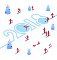 skier left a trace in the form of numbers 2018 vector image