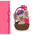 mouse in a basket vector image vector image