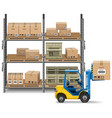 Storage with Forklift vector image