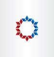 red blue hexagon frame element design vector image