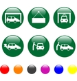 car service green icon shiny button vector image