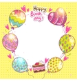 Happy Birthday background with cake and balloons vector image