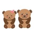 Kawaii funny brown bears girl and boy white muzzle vector image