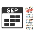 September Calendar Grid Flat Icon With vector image