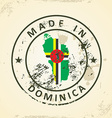 Stamp with map flag of Dominica vector image