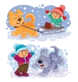 Set clip art small children play with vector image
