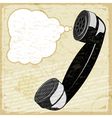 Vintage card with the image of the handset vector image vector image