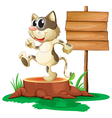 A cat above a trunk near an empty board vector image vector image