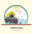 flat design of retro seaside landscape and camping vector image