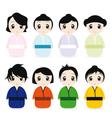 cartoon geisha set vector image vector image